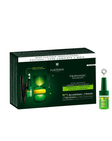 Triphasic Progressive Tratamiento Anticaída Progresiva 8amp. + Regalo Ch. Triphasic 100ml. - Rene Furterer
